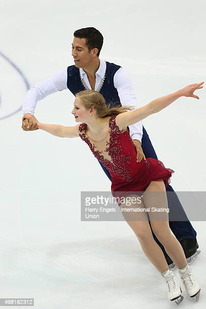 Hayleigh Bell and Rudi Swiegers of Canada skate during the Pairs Free Skating on day two of the Rostelecom Cup ISU Grand Prix of Figure Skating 2015...