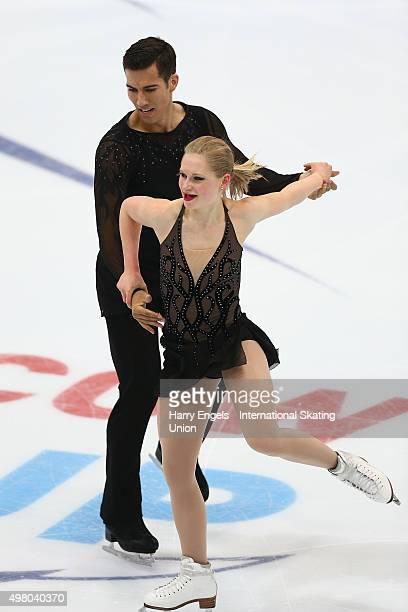 Hayleigh Bell and Rudi Swiegers of Canada skate during the Pairs Short Program on day one of the Rostelecom Cup ISU Grand Prix of Figure Skating 2015...