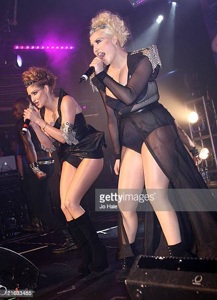 Hayley Amber Hasselhoff and Taylor Ann Hasselhoff of Bella Vida perform at GAY on August 20 2011 in London England