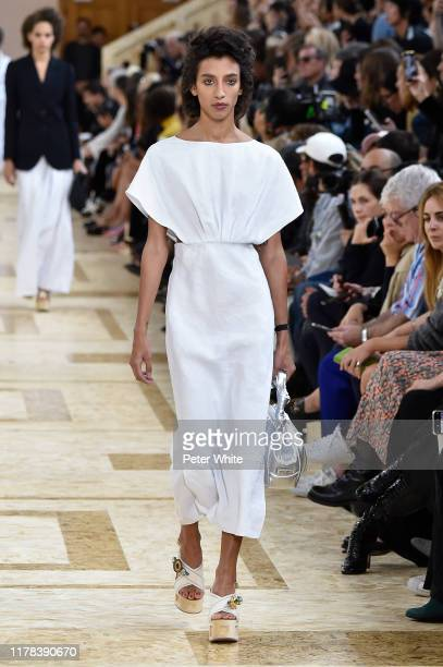 Hayley Ashton walks the runway during the Miu Miu Womenswear Spring/Summer 2020 show as part of Paris Fashion Week on October 01, 2019 in Paris,...