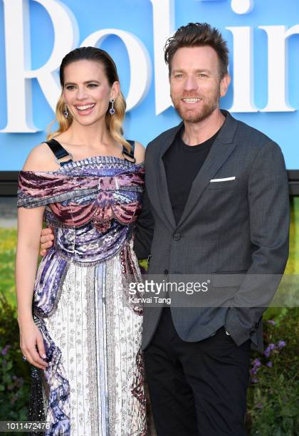Hayley Atwell and Ewan McGregor attend the European Premiere of 'Christopher Robin' at BFI Southbank on August 5, 2018 in London, England.