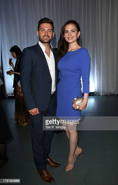 Hayley Atwell and guest attend the Novak Djokovic Foundation inaugural London gala dinner at The Roundhouse on July 8 2013 in London England The...