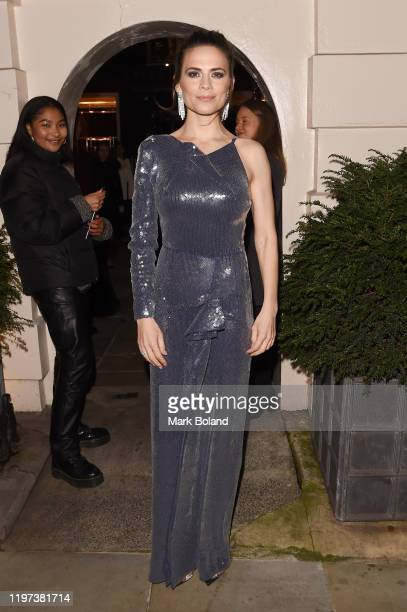 Hayley Atwell arrives at the dunhill Dylan Jones PreBAFTA dinner at dunhill Bourdon House on January 29 2020 in London England