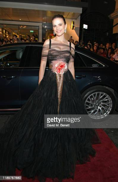Hayley Atwell arrives in an Audi at the Evening Standard Theatre Awards at London Coliseum on November 24, 2019 in London, England.