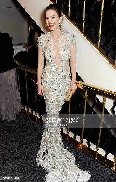 Hayley Atwell attends a drinks reception at the 59th London Evening Standard Theatre Awards at The Savoy Hotel on November 17 2013 in London England