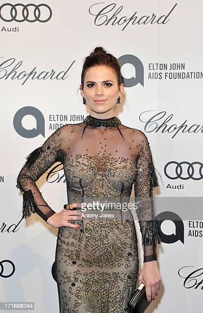Hayley Atwell attends the 15th Annual White Tie and Tiara Ball to Benefit Elton John AIDS Foundation in Association with Chopard at Woodside on June...