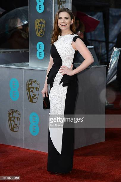 Hayley Atwell attends the EE British Academy Film Awards at The Royal Opera House on February 10 2013 in London England