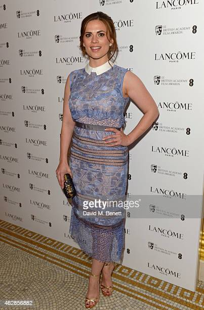 Hayley Atwell attends the Lancome Loves Alma PreBAFTA party at Cafe Royal on February 6 2015 in London England
