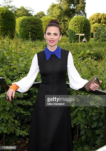 Hayley Atwell attends the launch party for the Fashion Rules exhibition a collection of dresses worn by HRH Queen Elizabeth II Princess Margaret and...