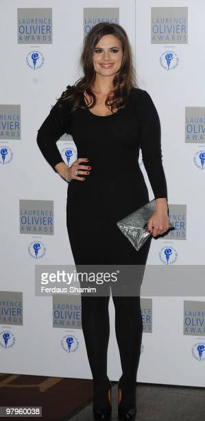 Hayley Atwell attends The Laurence Olivier Awards at The Grosvenor House Hotel on March 21 2010 in London England