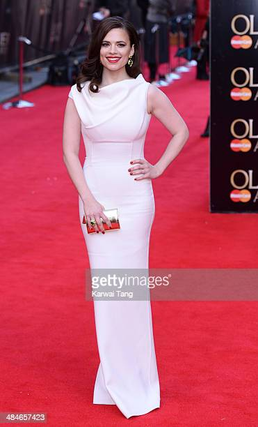 Hayley Atwell attends the Laurence Olivier Awards held at The Royal Opera House on April 13 2014 in London England