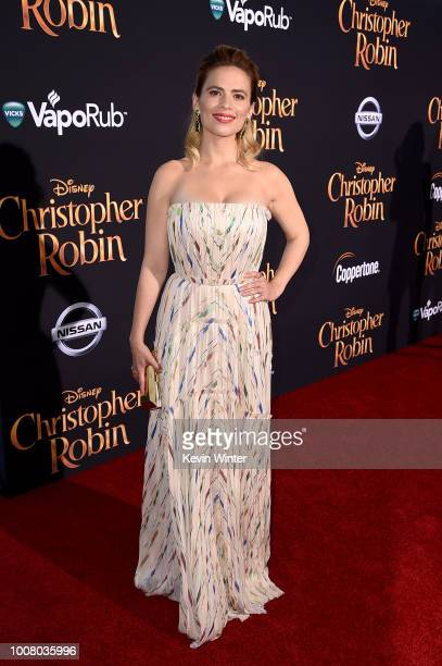 Hayley Atwell attends the premiere of Disney's 'Christopher Robin' at Walt Disney Studios on July 30 2018 in Burbank California