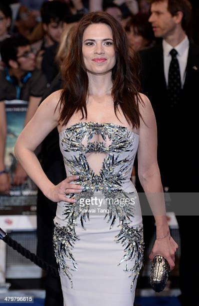 Hayley Atwell attends the UK Film Premiere of Captain America The Winter Soldier at Westfield London on March 20 2014 in London England