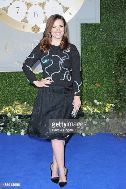"""Hayley Atwell attends the UK Premiere of """"Cinderella"""" at Odeon Leicester Square on March 19, 2015 in London, England."""