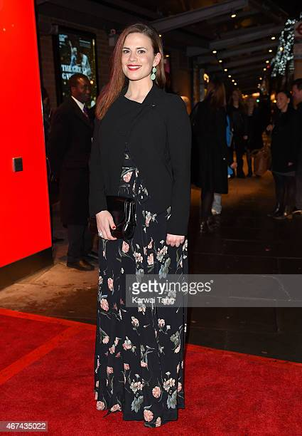 Hayley Atwell attends the VIP night for the Northern Ballets rendition of 'The Great Gatsby' at Sadlers Wells Theatre on March 24, 2015 in London,...