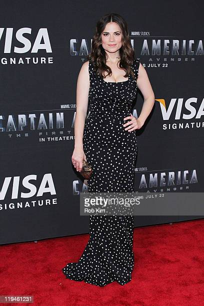 Hayley Atwell attends the Visa Signature screening of Captain America The First Avenger at the AMC Loews Lincoln Square on July 20 2011 in New York...