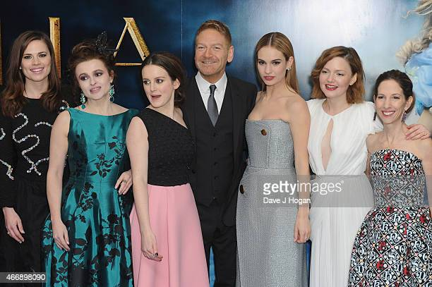 Hayley Atwell Helena Bonham Carter Sophie McShera Kenneth Branagh Lily James Holliday Grainger and Allison Shearmur attend the UK Premiere of...