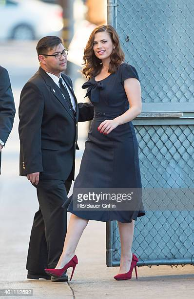 Hayley Atwell is seen at 'Jimmy Kimmel Live' on January 06 2015 in Los Angeles California