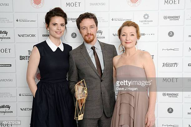 Hayley Atwell James McAvoy with the Best Actor Award and Lesley Manville attend the Moet British Independent Film Awards 2013 at Old Billingsgate...
