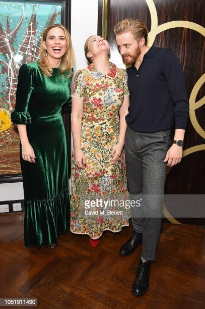 Hayley Atwell Josie Rourke and Jack Lowden attend the press night after party for Measure for the Measure at The Hospital Club on October 11 2018 in...