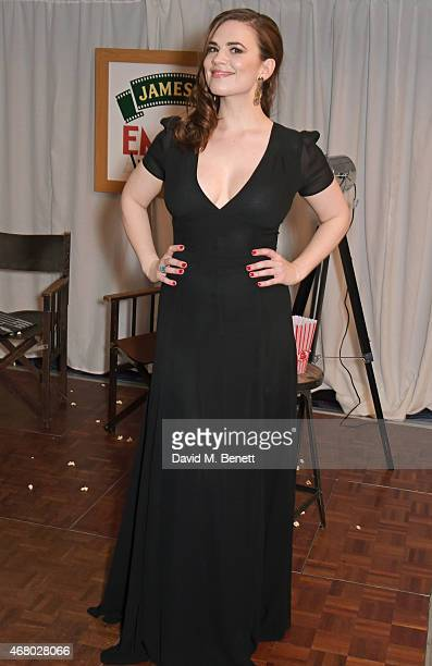 Hayley Atwell poses in the Winners Room after presenting an award at the Jameson Empire Awards 2015 at Grosvenor House on March 29 2015 in London...