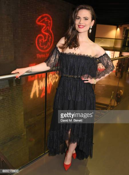 Hayley Atwell poses in the winners room at the THREE Empire awards at The Roundhouse on March 19 2017 in London England
