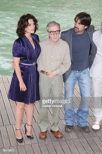 Hayley Atwell, Woody Allen and Colin Farrell arrives by boat to attend the Cassandra's Dream Photocall during Day 5 of the 64th Annual Venice Film...