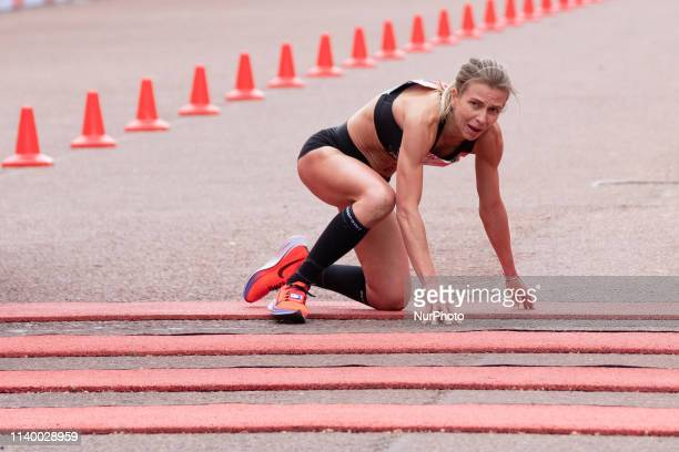Hayley Carruthers of Great Britain crosses the finishing line during the 2019 Virgin London Marathon 28 April London England