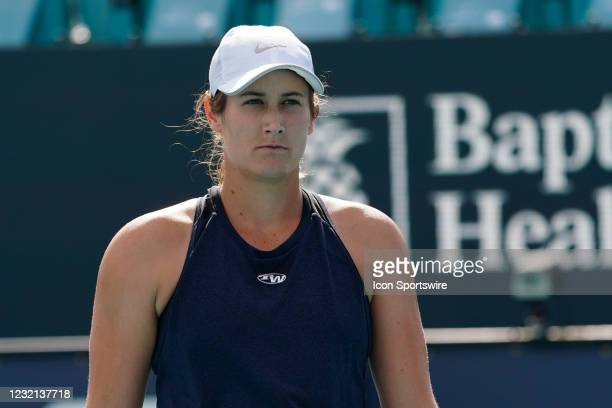 Hayley Carter during the womens doubles finals of the Miami Open on April 4 at Hard Rock Stadium in Miami Gardens, Florida