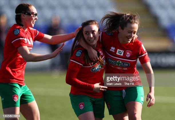 Hayley Crackle of Coventry United celebrates with her team mates after scoring their side's first goal during the Barclays FA Women's Championship...