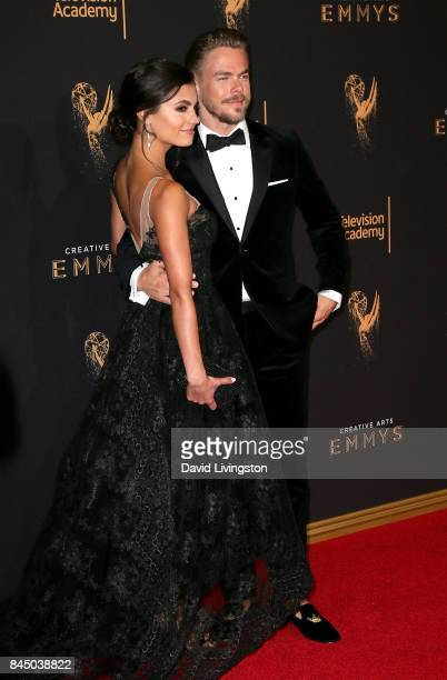 Hayley Erbert and dancer Derek Hough attend the 2017 Creative Arts Emmy Awards at Microsoft Theater on September 9 2017 in Los Angeles California