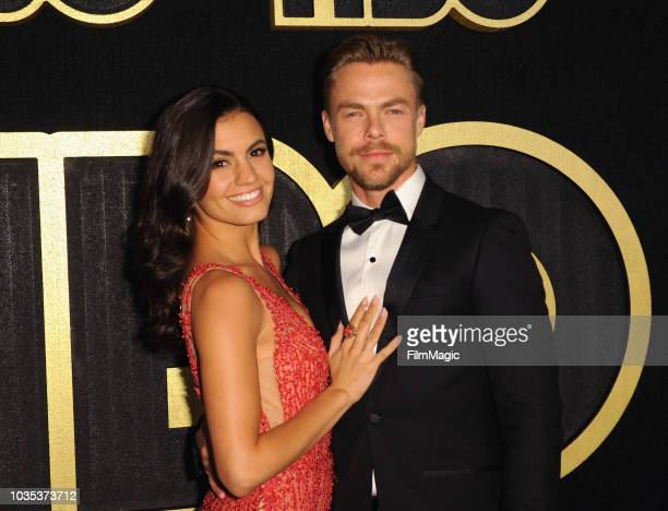 Hayley Erbert and Derek Hough arrive at HBO's Official 2018 Emmy After Party on September 17 2018 in Los Angeles California