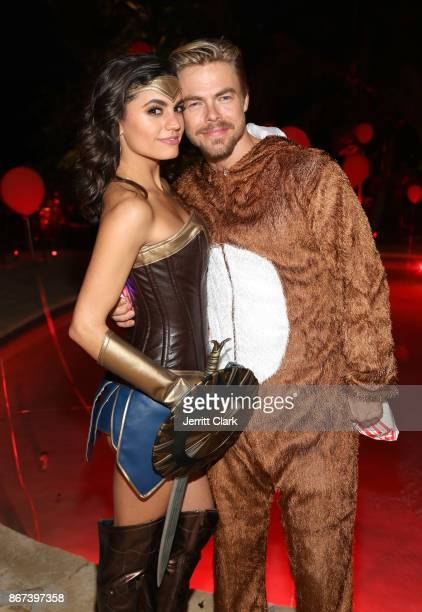 Hayley Erbert and Derek Hough attend Just Jared's 6th Annual Halloween Party on October 27 2017 in Beverly Hills California