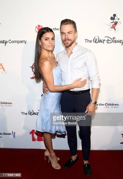 Hayley Erbert and Derek Hough attend Save The Children's Centennial Celebration Once in a Lifetime at The Beverly Hilton Hotel on October 02 2019 in...