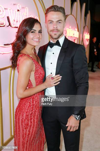 Hayley Erbert and Derek Hough attend the Amazon Prime Video post Emmy Awards party at Cecconi's on September 17 2018 in West Hollywood California