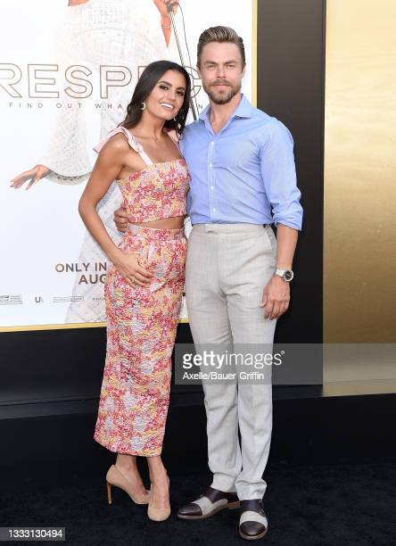 """Hayley Erbert and Derek Hough attend the Los Angeles Premiere of MGM's """"Respect"""" at Regency Village Theatre on August 08, 2021 in Los Angeles,..."""
