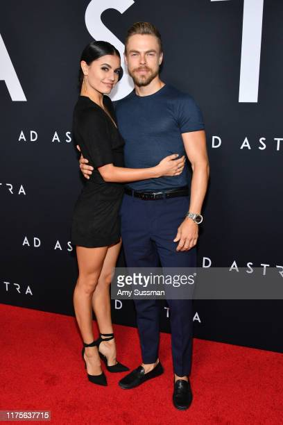 Hayley Erbert and Derek Hough attend the premiere of 20th Century Fox's Ad Astra at The Cinerama Dome on September 18 2019 in Los Angeles California