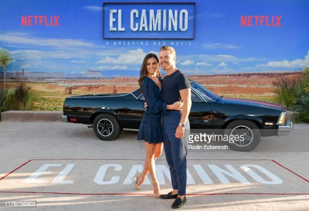 Hayley Erbert and Derek Hough attend the premiere of Netflix's El Camino A Breaking Bad Movie at Regency Village Theatre on October 07 2019 in...