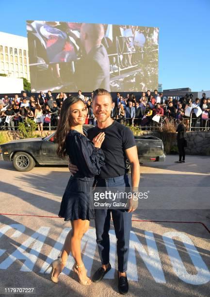 Hayley Erbert and Derek Hough attend the World Premiere of El Camino A Breaking Bad Movie at the Regency Village on October 07 2019 in Los Angeles...
