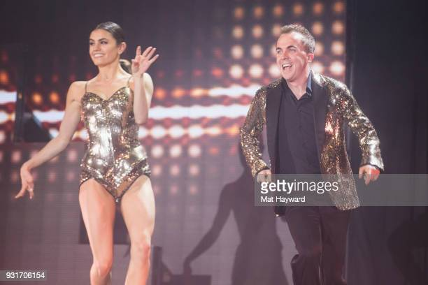 Hayley Erbert and Frankie Muniz perform on stage during Dancing With The Stars Live at WaMu Theater on March 13 2018 in Seattle Washington