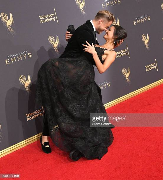 Hayley Erbert Derek Hough arrives at the 2017 Creative Arts Emmy Awards Day 1 at Microsoft Theater on September 9 2017 in Los Angeles California