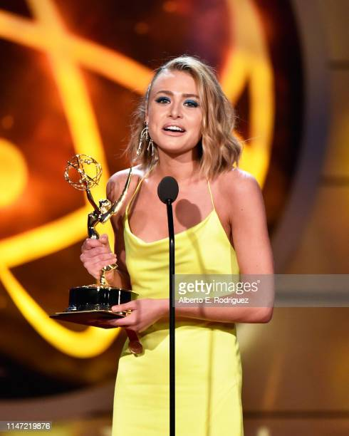 Hayley Erin accepts the Daytime Emmy Award for Outstanding Younger Actress in a Drama Series onstage during the 46th annual Daytime Emmy Awards at...