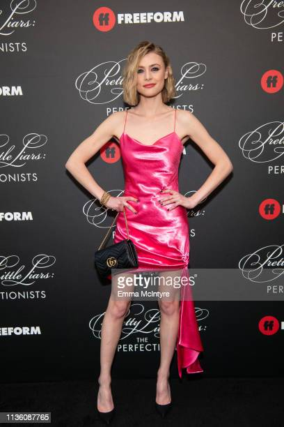 Hayley Erin arrives at the 'Pretty Little Liars The Perfectionists' premiere at Hollywood Athletic Club on March 15 2019 in Hollywood California