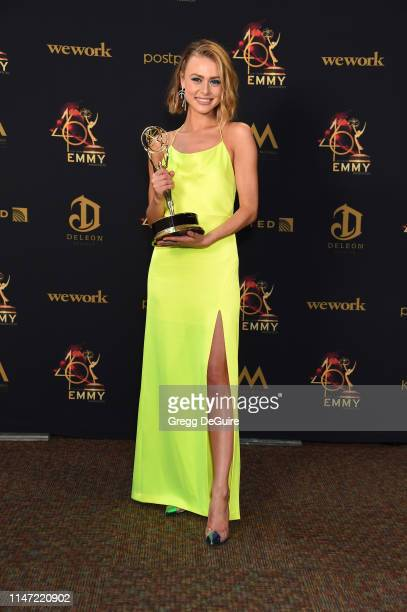 Hayley Erin poses with the Daytime Emmy Award for Outstanding Younger Actress in a Drama Series in the press room during the 46th annual Daytime Emmy...