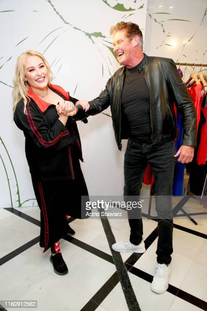 Hayley Hasselhoff and David Hasselhoff attend the GYM Capsule Collection at Marina Rinaldi Boutique on July 08 2019 in New York City