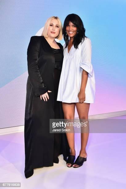 Hayley Hasselhoff and POPSUGAR lead editor Brittney Stephens attends POPSUGAR 2017 Digital NewFront at Industria Studios on May 3 2017 in New York...