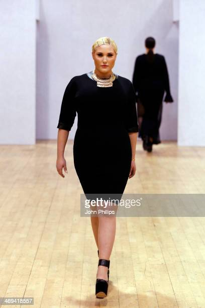 Hayley Hasselhoff walks the runway at the British Plus size Fashion Weekend show during London Fashion Week AW14 at Vinopolis on February 14 2014 in...