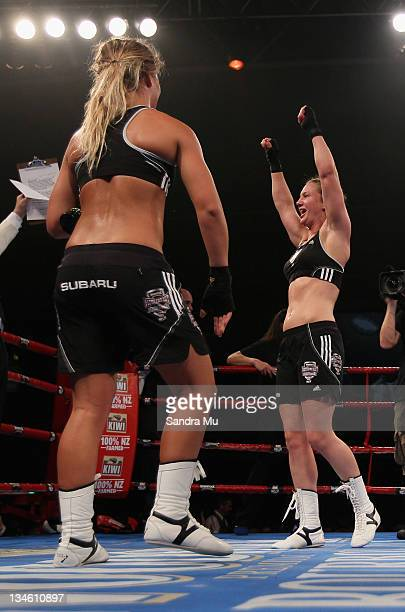 Hayley Holt celebrates her win over Paige Hareb during the Fight For Life League vs Union Night at The Trusts Stadium on December 3 2011 in Auckland...
