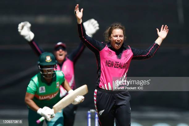 Hayley Jensen of New Zealand appeals the wicket of Rumana Ahmed of Bangladesh during the ICC Women's T20 Cricket World Cup match between New Zealand...