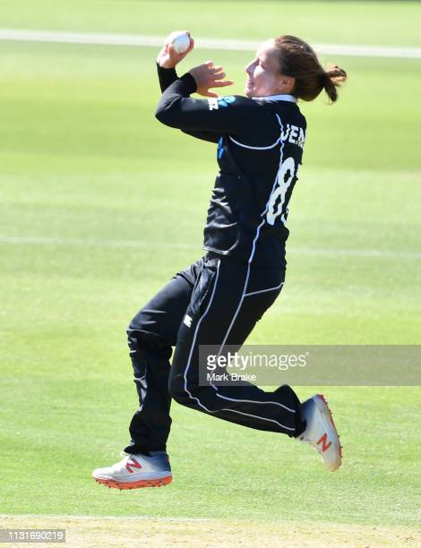 Hayley Jensen of New Zealand bowls during game two of the One Day International Series between Australia and New Zealand at Karen Rolton Oval on...